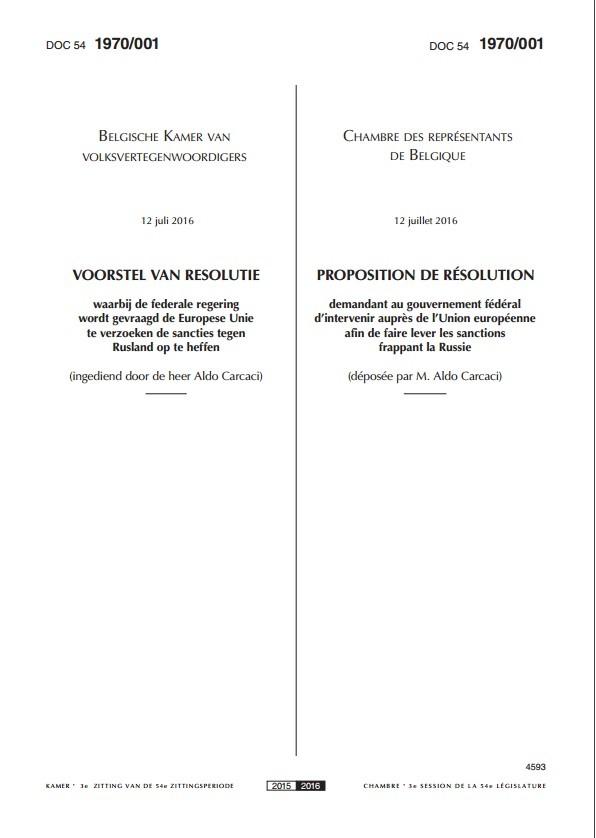 Le parlement belge examinera en septembre une résolution pour lever les sanctions contre Moscou