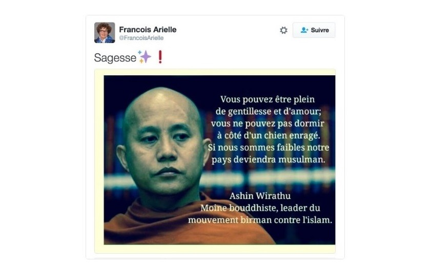Capture d'écran de Twitter, @FrançoisArielle.