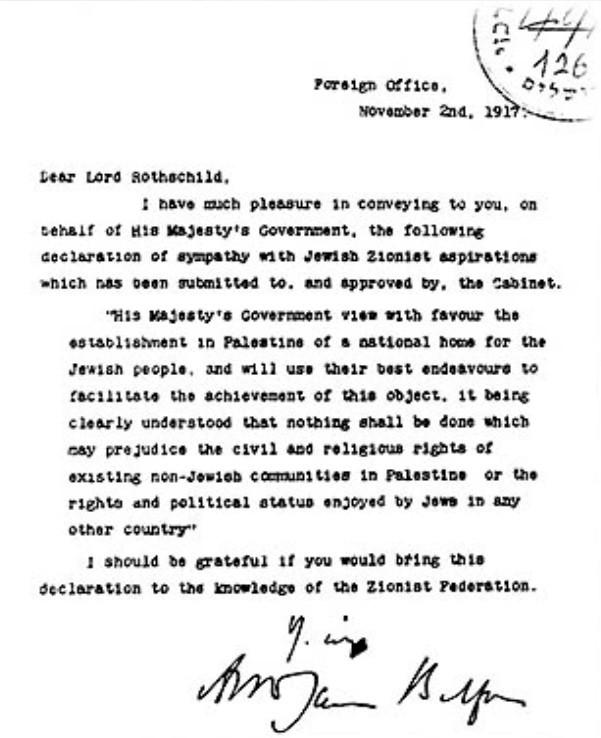 Le texte de la lettre écrite par Lord Balfour