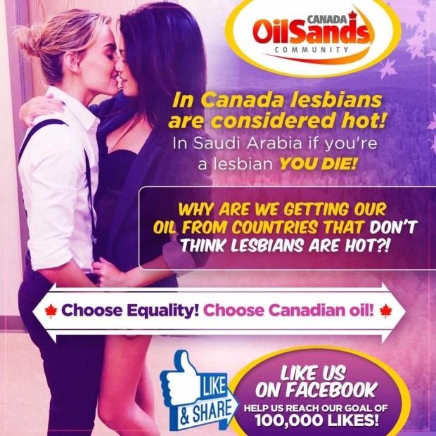 Des «lesbiennes sexy» dans une campagne publicitaire de pétrole canadien contre l'Arabie saoudite