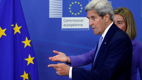 Le secrétaire d'Etat américain John Kerry en visite à Bruxelles le 27 juin