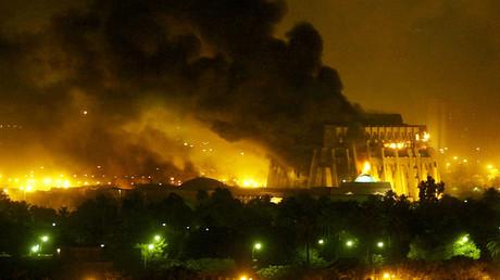 L'explosion à Bagdad le 21 mars 2003.