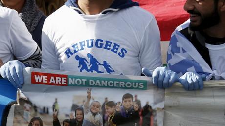 Des migrants manifestent pour encourager l'accueil des réfugiés à Bruxelles