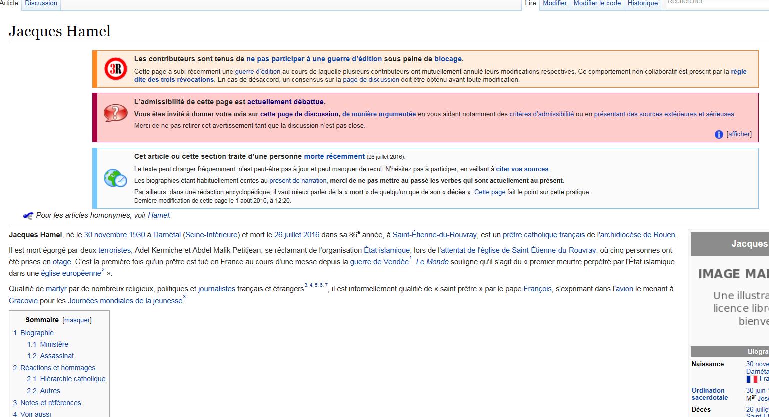 Le père Jacques Hamel mérite-t-il une page sur Wikipédia ? Les internautes débattent