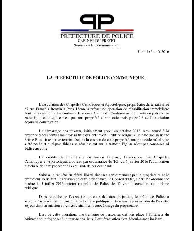 Le communiqué de la préfecture de police de Paris