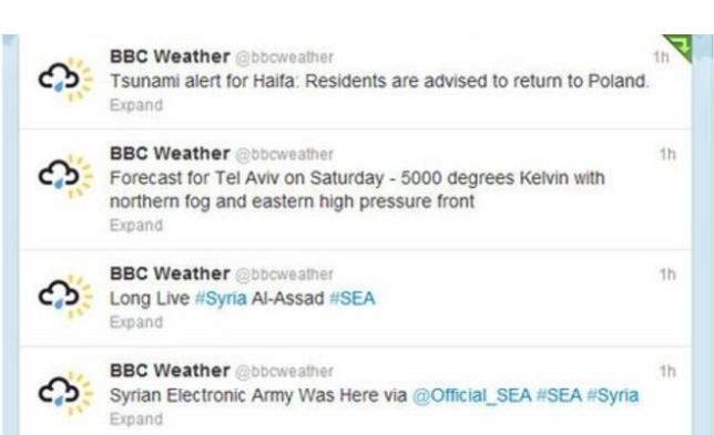 La SEA s'est amusé à pirater le compte de la section météo de la BBC