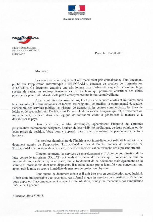 Le ministère de l'Intérieur informe Alain Soral qu'il est menacé par l'Etat islamique