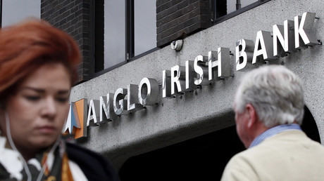 Une devanture d'un établissement de l'Anglo irish Bank