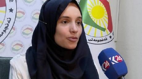 La jeune femme lors de son passage à la télévision kurde