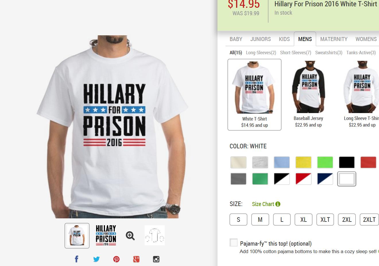 Un T-shirt anti-Clinton en vente sur le site CafePress.