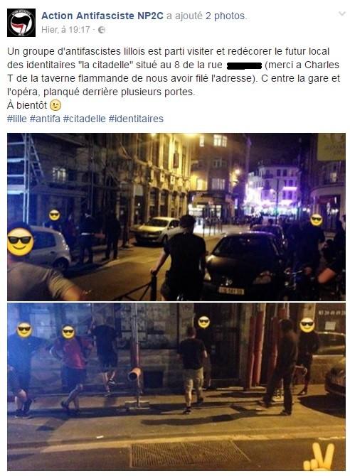 Lille : un groupe d'antifascistes veut tagguer un bar identitaire et… se trompe de bâtiment