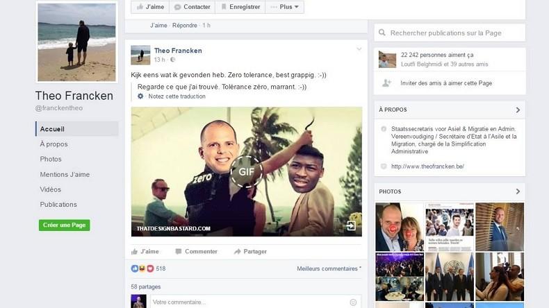 Le secrétaire belge à la Migration partage un GIF jugé raciste sur Facebook… et se fait incendier