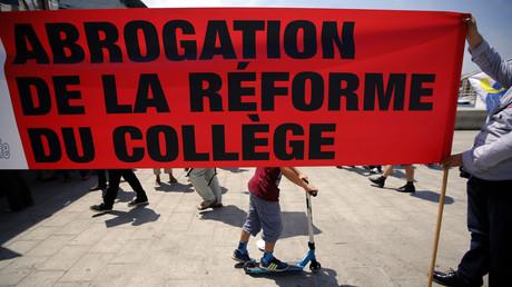 Manifestation lors de la réforme du collège