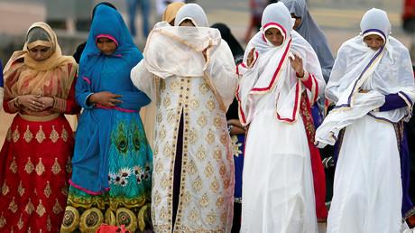 Des musulmanes en prière à Colombo, au Sri Lanka.