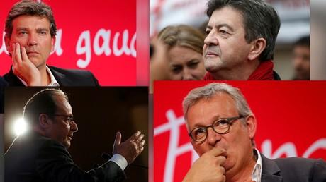 Arnaud Montebourg, Jean-Luc Mélenchon, François Hollade et Pierre Laurent.