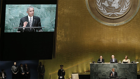 Barack Obama devant l'Assemblée générale de l'ONU. ©Reuters/Mike Segar