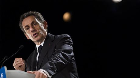 Nicolas Sarkozy en meeting à Franconville. Photo ©Martin Bureau / AFP