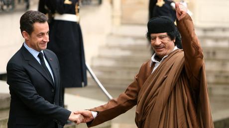 Mouammar Kadhafi, lors de sa visite en France en 2007
