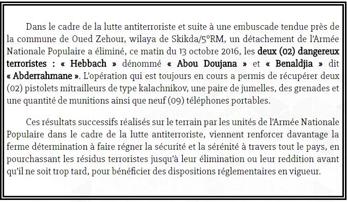 Abou Doudjana, l'émir de Daesh en Algérie, a été abattu par l'Armée