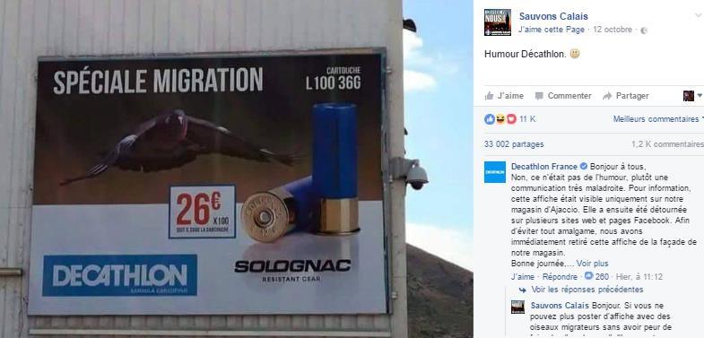 Capture d'écran du compte facebook «Sauvons Calais »