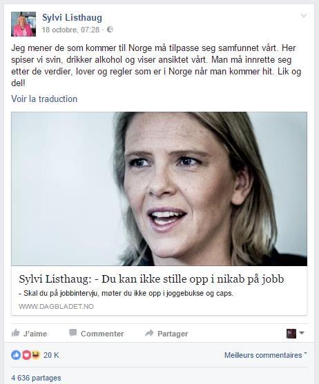 Vive réaction en Norvège après des propos du ministre de l'Intégration sur les musulmans