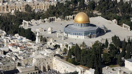 Vue aérienne sur le Dôme du Rocher et le Mur des Lamentations à Jérusalem-Est