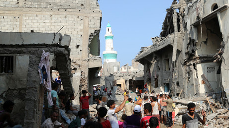La ville d'Al Hudaydah au Yémen, le 22 septembre, après un raid de la coalition menée par l'Arabie saoudite.
