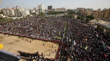 Meeting du Hamas dans la ville de Gaza le 21 octobre 2016 pour le 29e anniversaire de la fondation du mouvement islamique