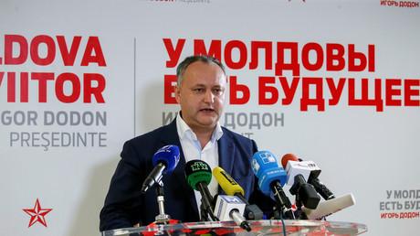Igor Dodon, le candidat du Parti des socialistes de la République de Moldavie arrivé en tête du 1er tour de l'élection présidentielles avec 48,2% des suffrages