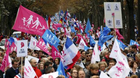 Défilé des partisans de la Manif pour Tous à Paris en octobre 2014