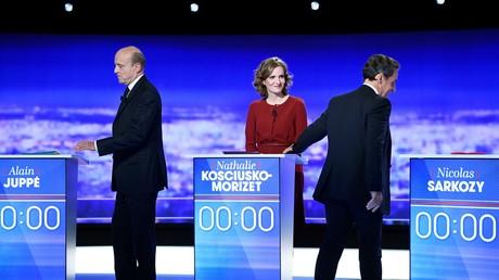 Alain Juppé, NKM et Nicolas Sarkozy lors du premier débat télévisé de la primaire