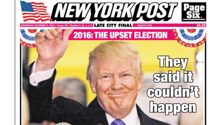 Une du New York Post, le 9 novembre 2016, capture d'écran, DR
