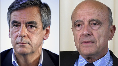 François Fillon et Alain Juppé, candidats à la primaire à droite, photo ©STF / AFP