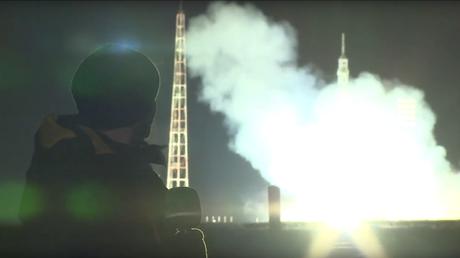 Lancement d'une fusée Souyouz au cosmodrome de Baïkonour, au Kazakhstan