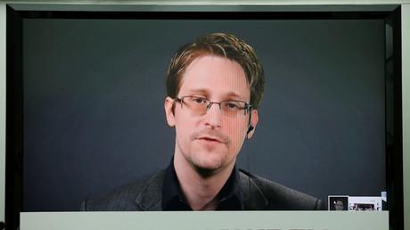 Edward Snowden lors d'une conférence vidéo en septembre 2016