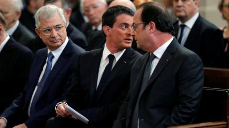 Francois Hollande, Manuel Valls, Claude Bartolone, le 7 juillet 2016