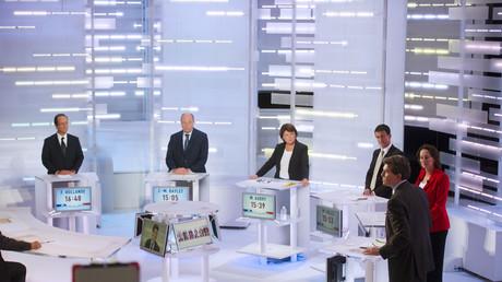 Les candidats de la primaire socialiste de 2011 en plein débat télévisé.