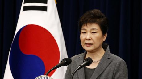 La présidente sud-coréenne s'adressant à la nation