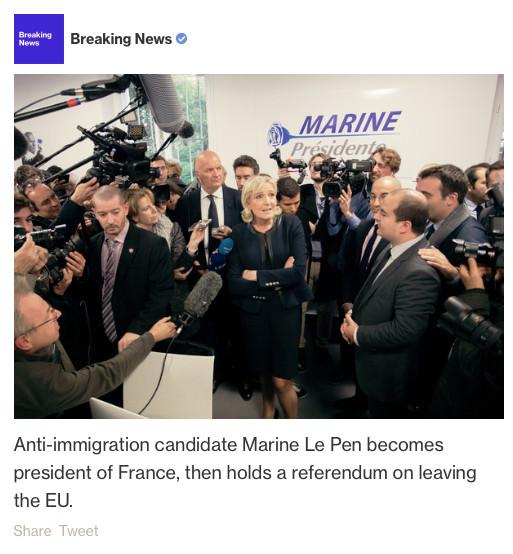 Le Pen présidente, «Frexit», Merkel battue... les scénarios catastrophes de Bloomberg pour 2017