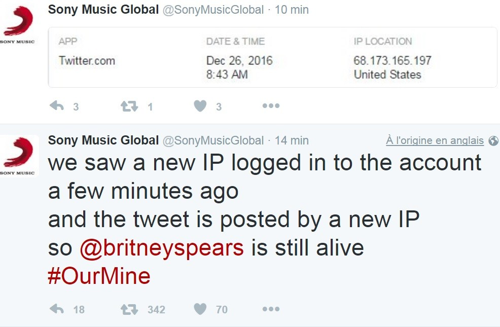 Britney Spears décédée ? Le compte Twitter de Sony se fait pirater et la toile s'enflamme...