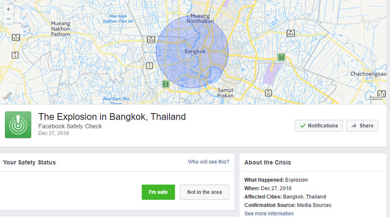 Victime de «fake news», Facebook active son «Safety check» et provoque la panique à Bangkok