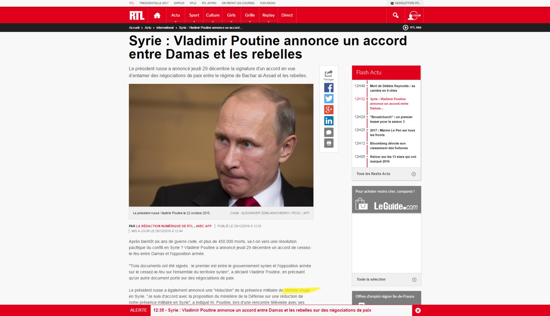 Nostalgie ? RTL évoque la présence militaire de l'«armée rouge» de Poutine en Syrie