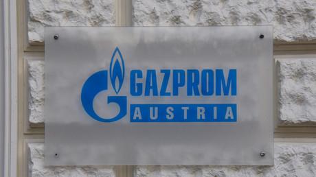 Le logo de l'entreprise russe Gazprom en Autriche