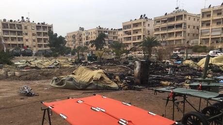 Hôpital mobile à Alep après le bombardement