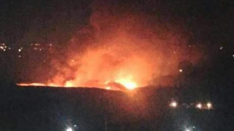 Une image présentée comme une photographie d'un quartier de Damas qui aurait été frappé par Israël