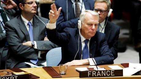 Jean-Marc Ayrault pendant la réunion du Conseil de securité l'ONU