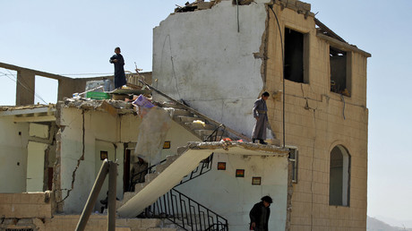 Une maison de Sanaa dévastée par un bombardement de la coalition militaire dirigée par l'Arabie saoudite