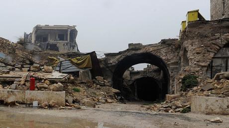 Une vue des dégâts dans la vieille ville d'Alep, ravagée par la guerre