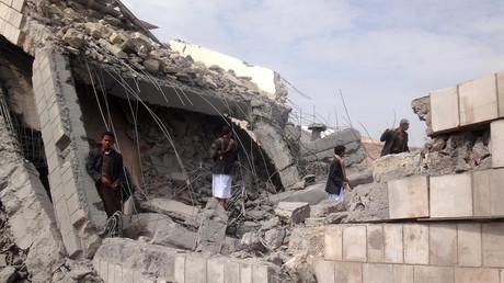 Des ruines dans la ville de Sa'dah, au Yémen, après un raid de la coalition menée par l'Arabie saoudite en septembre 2016 (photographie d'illustration)