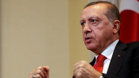 Recep Tayyip Erdogan, président turc en interview lors d'un voyage aux Etats-Unis.